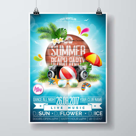 A Vector Summer Beach Party Flyer Design with typographic elements on wood texture background. Summer nature floral elements and sunglasses. Eps10 illustration. Vettoriali