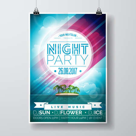 music: A Vector Summer Night Party Flyer Design with paradise island on ocean landscape background. Eps10 illustration.