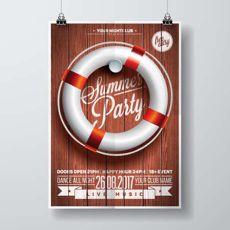 Vector Summer Beach Party Flyer Design with typographic elements and life buoy on wood texture background. Eps10 illustration.