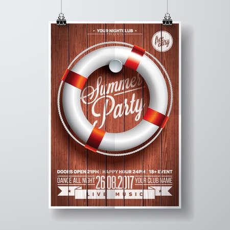 Vector zomer Beach Party Flyer Design met typografische elementen en reddingsboei op houtstructuur achtergrond. Eps10 illustratie. Stock Illustratie