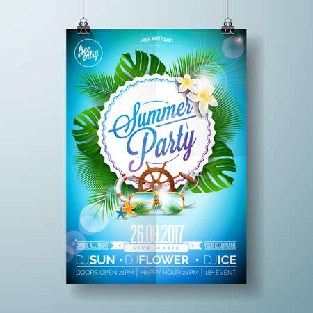 beach sunset: Vector Summer Beach Party Flyer Design with typographic design on nature background with palm trees and sunglasses. Eps10 illustration.