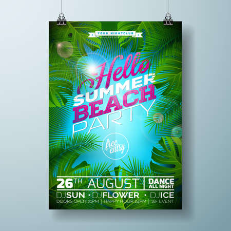 Vector Summer Beach Party Flyer Design with typographic design on nature background with palm leaves. Eps10 illustration. Иллюстрация
