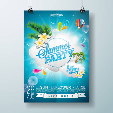 Vector Summer Beach Party Flyer Design with typographic design on nature background with  cloud and air balloon. Eps10 illustration. Vectores