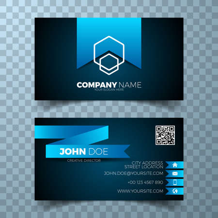 Vector modern business card design template on a clean backgound.