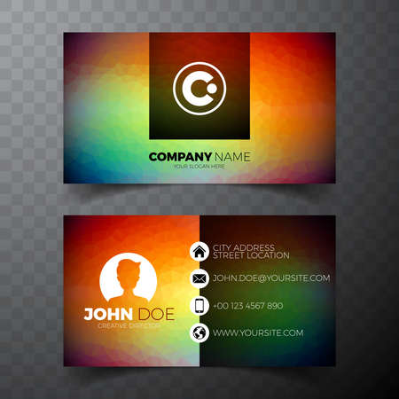 Vector modern abstract business card design template on clean backgound.