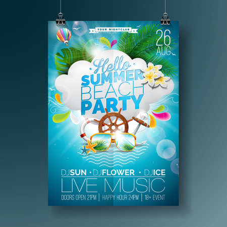 Vector Summer Beach Party Flyer Design with typographic design on nature background with  cloud and air balloon. Eps10 illustration. Çizim