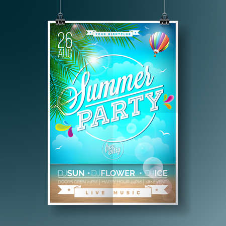Vector Summer Beach Party Flyer Design with typographic elements on ocean landscape background. Air balloon and palm tree. Eps10 illustration. Illustration