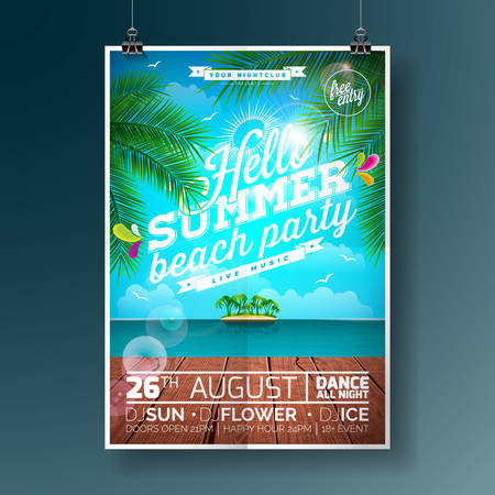 Vector Summer Beach Party Flyer Design with typographic elements and palm tree on ocean landscape background. Vettoriali