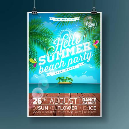 Vector Summer Beach Party Flyer Diseño con elementos tipográficos y palmeras en el fondo del paisaje del océano.