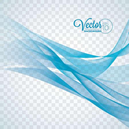 Elegant vector flowing blue wave design on transparent background. Illustration