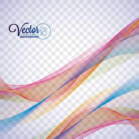 Elegant vector flowing color wave design on transparent background.