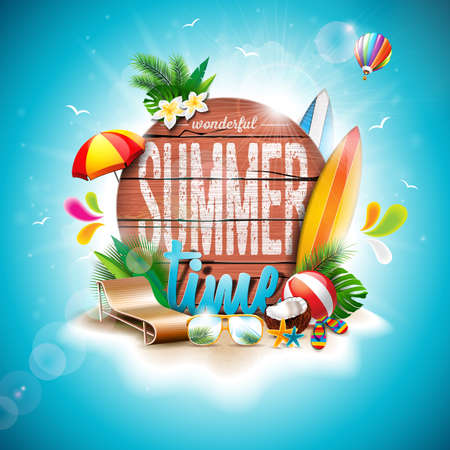 Vector Summer Time Holiday typographic illustration on vintage wood background. Tropical plants, flower, beach ball and sunshade. Eps 10 design. Stock Illustratie