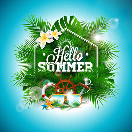 Vector Summer Time Holiday typographic illustration on palm leaves background. Tropical plants, flower,sunglasses and anchor. Eps 10 design.