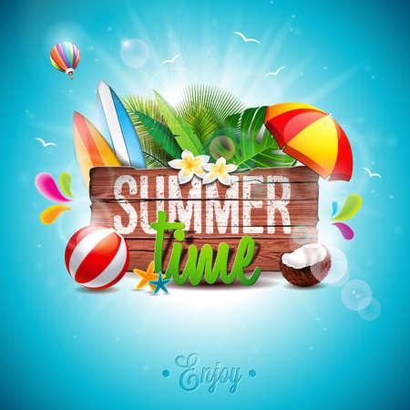 ベクトル ヴィンテージの木製の背景に夏の時間休日表記イラスト。熱帯植物や花、ビーチボール、サンシェード。Eps 10 デザイン。
