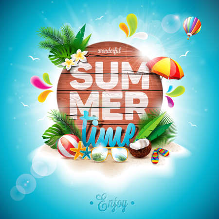 sunshade: Vector Summer Time Holiday typographic illustration on vintage wood background. Tropical plants, flower, beach ball and sunshade. Eps 10 design. Illustration