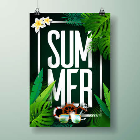 Vector Summer Time Holiday typographic illustration on palm leaves background. Tropical plants and flowers. Eps 10 design.