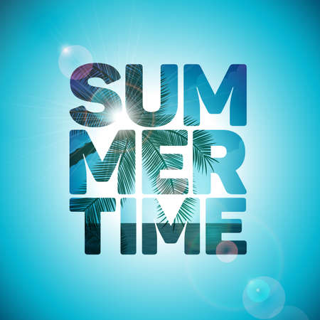 Vector Summer Time Holiday typographic illustration on ocean landscape background with palm trees. Eps 10 design. Illustration