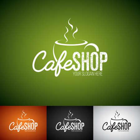 Coffe 컵 벡터 로고 디자인 템플릿입니다. 다양 한 색상으로 Cofe가 게 레이블 그림의 집합입니다.