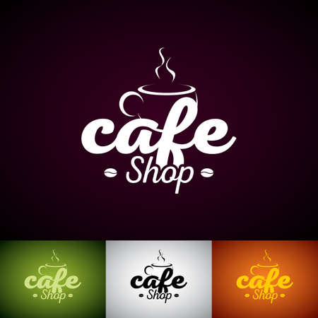 Coffe Cup Vector Logo Design Template. Set of Cofe Shop label illustration with various color.