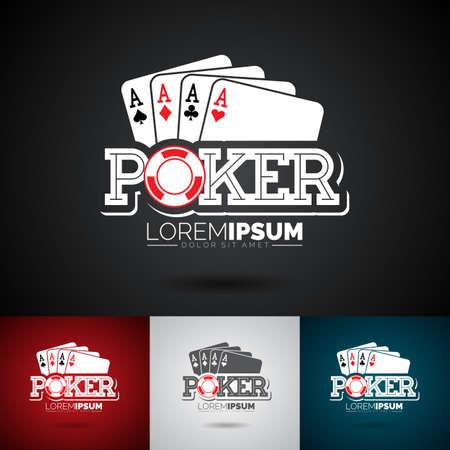 ベクトル要素をギャンブルとポーカーのロゴのデザインのテンプレートです。エースのカジノのイラストは暗い背景にトランプを設定
