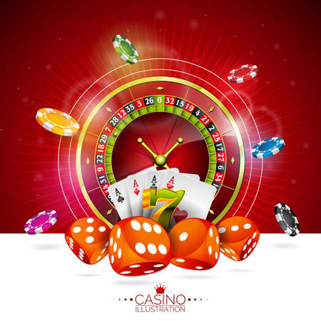 Vector illustration on a casino theme with color playing chips and poker cards on dark background. Stock Vector - 84071941