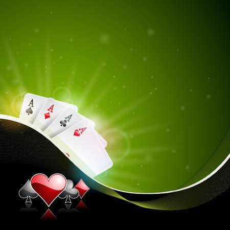 暗い背景にチップやカードの火かき棒の再生の色でオンラインカジノのテーマのベクトル図。