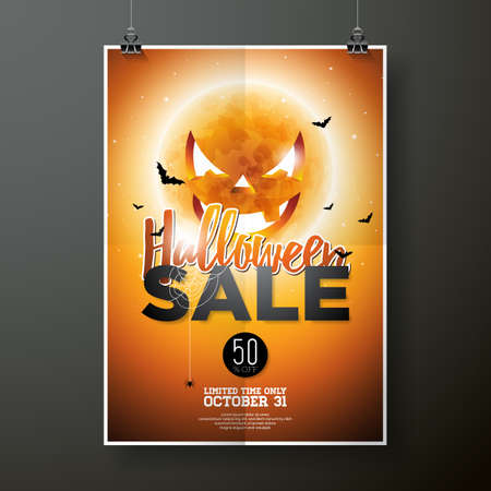 spider web: Hallowen Sale vector poster template illustration with moon and bats on orange sky background. Design for offer, coupon, banner, voucher or promotional poster