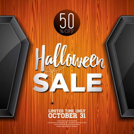 Hallowen Sale vector illustration with coffin and Holiday elements on wood texture background. Design for offer, coupon, banner, voucher or promotional poster
