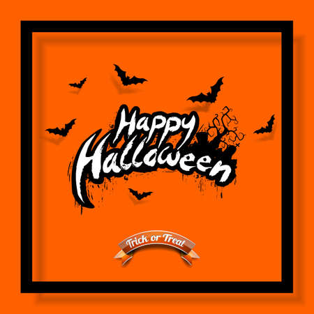 Happy Halloween vector illustration with bats and cemetery on orange background. Holiday design for greting card, poster or party invitation.