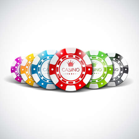 色背景を明確にチップを再生オンラインカジノのテーマのベクトル図。ギャンブルのデザイン要素です。  イラスト・ベクター素材