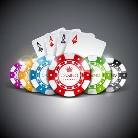 Vector illustration on a casino theme with color playing chips and playig cards on dark background. Gambling design elements. Ilustracja