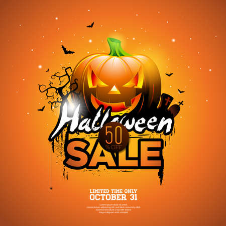 web: Halloween Sale vector illustration with pumpkin, cemetery and bats on orange sky background. Design for offer, coupon, banner, voucher or promotional poster
