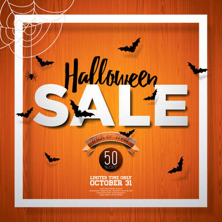 Halloween Sale vector illustration with spider and Holiday elements on wood texture background. Design for offer, coupon, banner, voucher or promotional poster Illustration