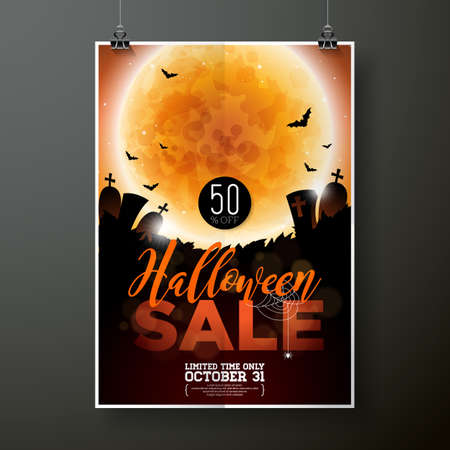 Hallowen Sale vector poster template illustration with moon and bats on orange sky background. Design for offer, coupon, banner, voucher or promotional poster