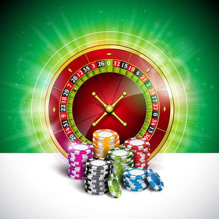 벡터 일러스트 레이 션 녹색 배경에 칩 및 룰렛 재생 컬러와 카지노 테마에. 도박 디자인 요소입니다.