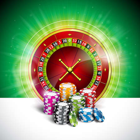Vector illustration on a casino theme with color playing chips and roulette wheel on green background. Gambling design elements.