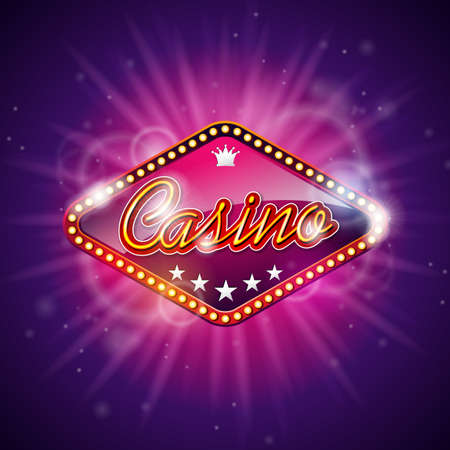 Vector illustration on a casino theme with shiny caption sign display on dark violet background. Gambling design elements.