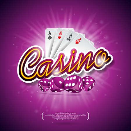 Vector la ilustración en un tema del casino con el color que juega microprocesadores, las tarjetas del póker, los dados rojos y el subtítulo brillante en fondo violeta oscuro. Elementos de diseño de juegos de azar Foto de archivo - 85194149