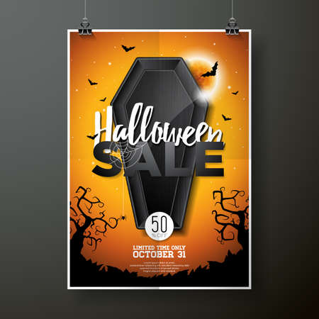 celebration party: Halloween Sale vector illustration with coffin and Holiday elements on orange background. Design for offer, coupon, banner, voucher or promotional poster