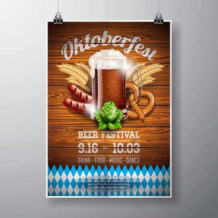 Oktoberfest poster vectorillustratie met vers donker bier op houten textuur achtergrond. Vieringsvliegermalplaatje voor traditioneel Duits bierfestival. Stock Illustratie