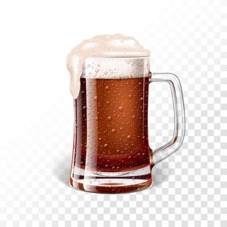 Vector illustration with fresh dark beer in a beer mug on transparent background.
