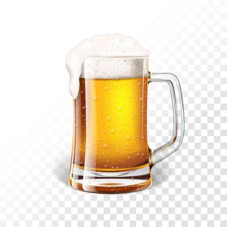 Vector la ilustración con la cerveza de cerveza dorada fresca en una taza de cerveza en fondo transparente. Ilustración de vector