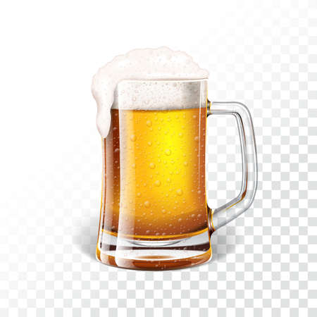 Vector illustration with fresh lager beer in a beer mug on transparent background.
