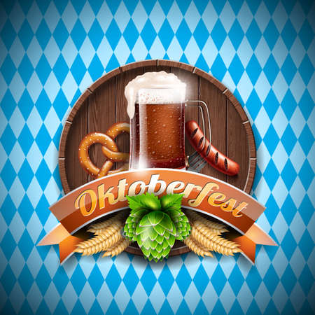 Oktoberfest vector illustration with fresh dark beer on blue white background. Celebration banner for traditional German beer festival.