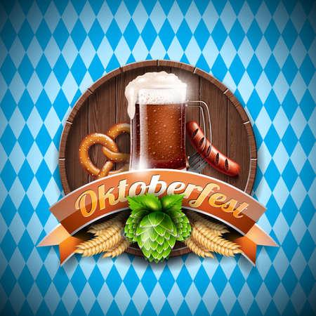 Oktoberfest vector illustration with fresh dark beer on blue white background. Celebration banner for traditional German beer festival.