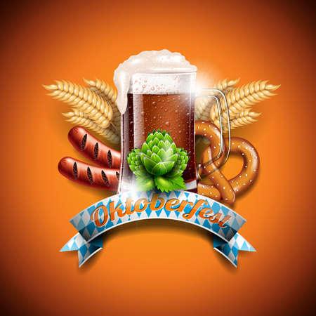 Oktoberfest vector illustration with fresh dark beer on orange background. Celebration banner for traditional German beer festival. Illustration
