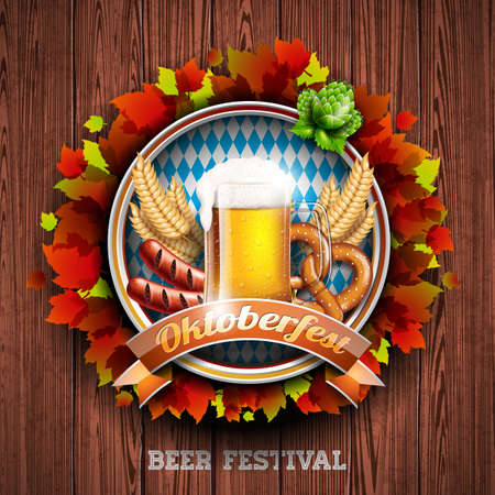 Oktoberfest vector illustration with fresh lager beer on wood texture background. Celebration banner for traditional German beer festival.
