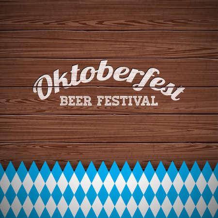 木の質感の背景に描かれた手紙とオクトーバーフェストベクターイラスト。伝統的なドイツのビール祭りのための祝賀バナー。