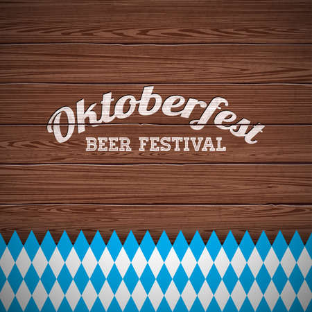 Oktoberfest vector illustration with painted letter on wood texture background. Celebration banner for traditional German beer festival.
