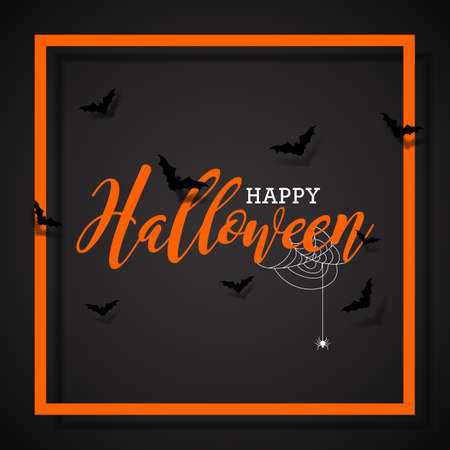 Happy Halloween vector illustration with bats  and spider on black background. Holiday design for greting card, poster or party invitation.